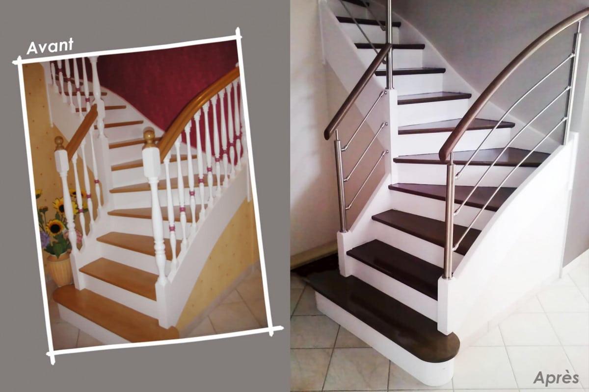 Escalier quart tournant rénové