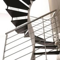escalier colimacon et garde corps inox cintré