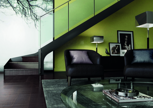 Escalier métallique et profil de sol en verre