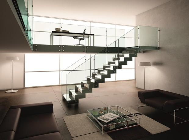 Escalier métal et verre