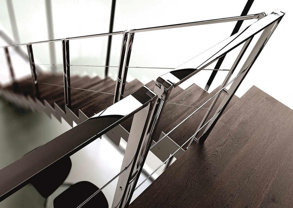Garde corps poteau plat en inox miroir divinox - Garde corps escalier original ...