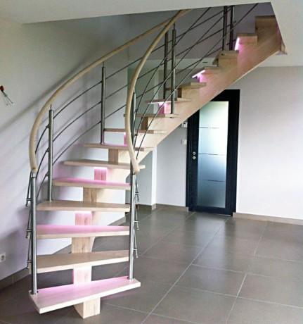 Escalier bois à Led