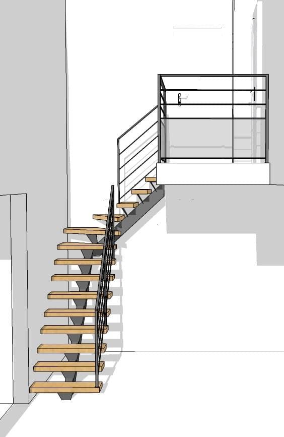 Plan escalier 3D