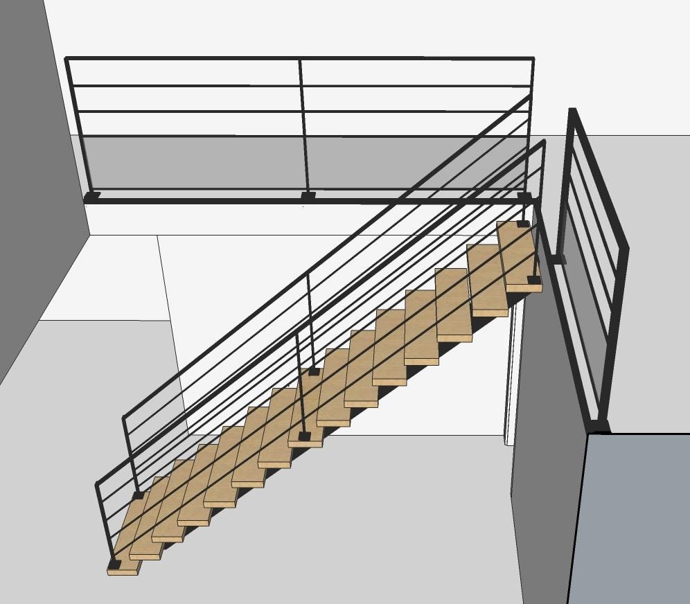 Plan escalier droit 3D
