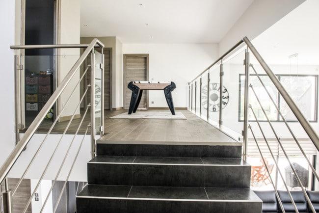 garde corps inox escalier et mezzanine