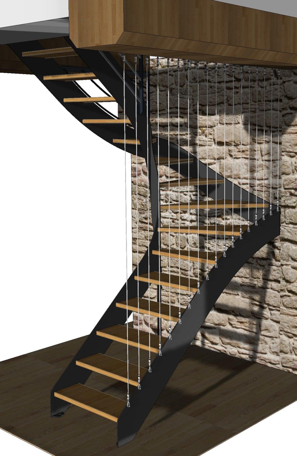 Escalier fer plat garde corps cables 1