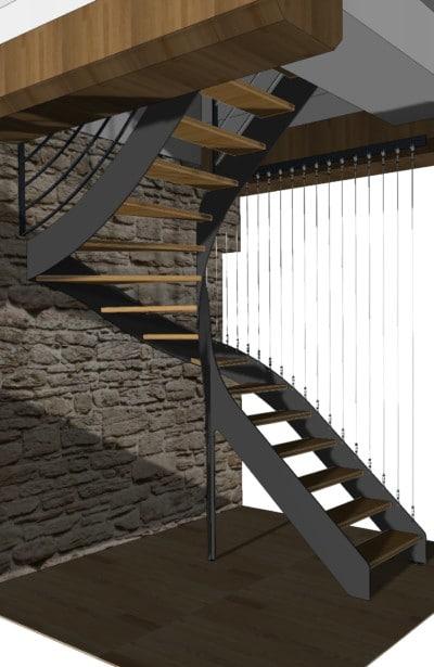 Escalier fer plat garde corps cables 2