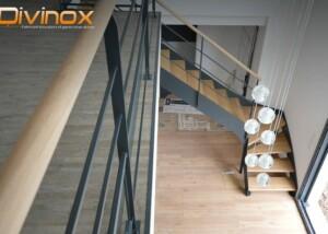 Escalier en fer plat 1/4 tournant RAL 7016 fine texture