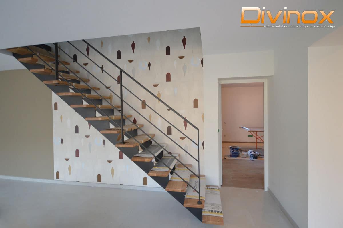 Escalier limon double crémaillère avec garde-corps rampant en acier