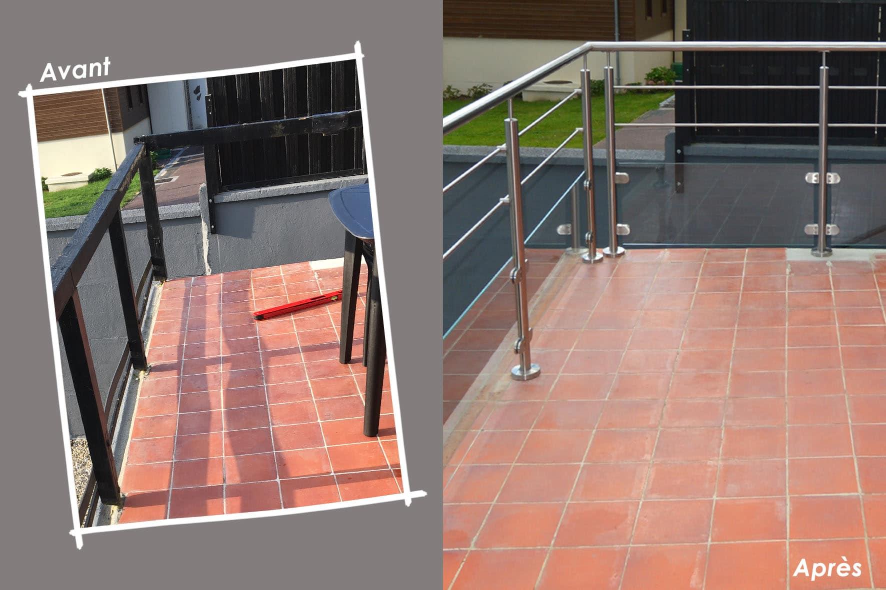 Rénovation escalier béton et garde-corps bois