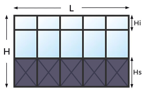 Mesure ouvertures verrières grands carreaux avec imposte et soubassement